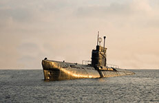 submarine, russian submarine rising to the surface