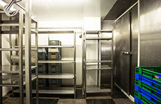 restaurant, empty restaurant kitchen storage room stainless steel